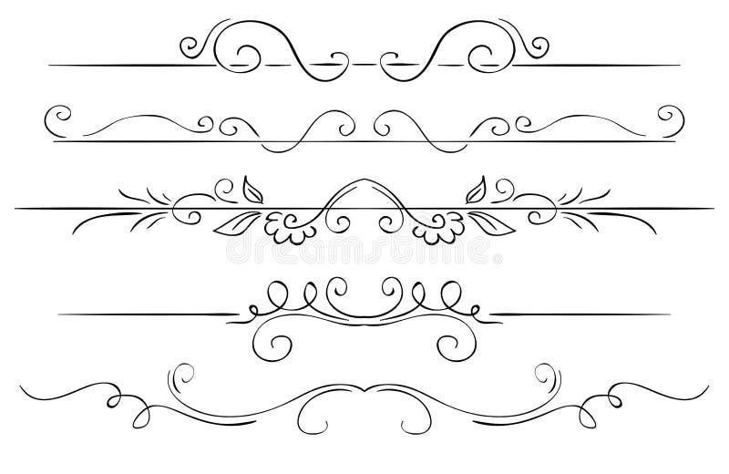 Sistema adornado de fronteras en un fondo blanco Gráfico de la mano ilustración del vector
