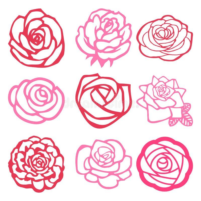 Sistema afiligranado de las rosas stock de ilustración