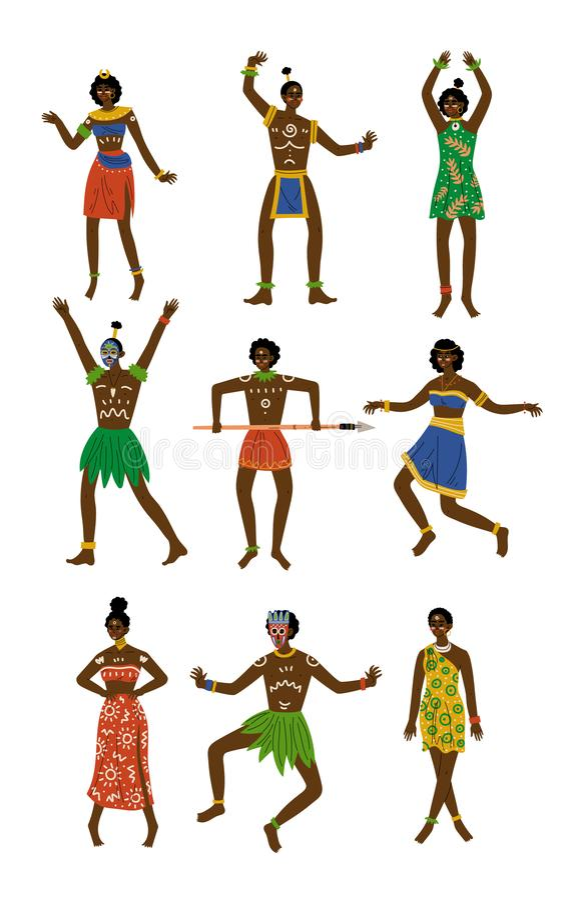 Sistema africano de la gente, varón y aborigen femenino vestidos en ropa tribal tradicional brillante y vector étnico de la joyer stock de ilustración