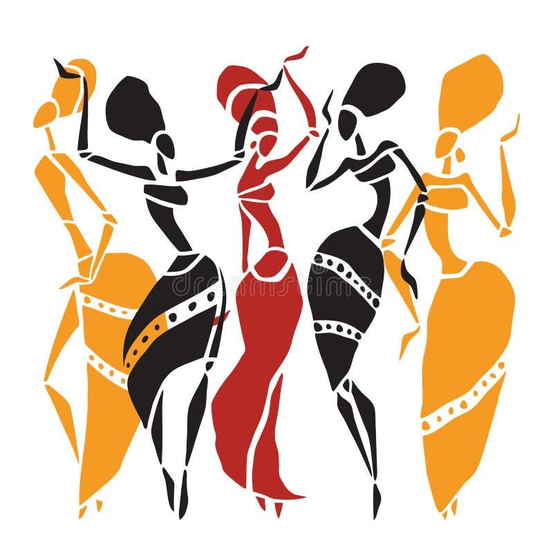 Sistema africano de la silueta de los bailarines stock de ilustración