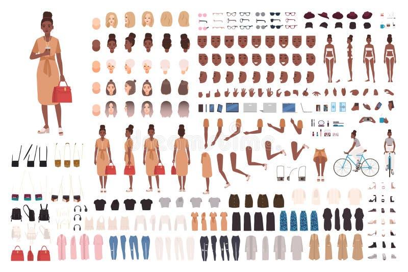 Sistema afroamericano de la animación de la muchacha del inconformista, generador o equipo de DIY Paquete de partes del cuerpo, r ilustración del vector