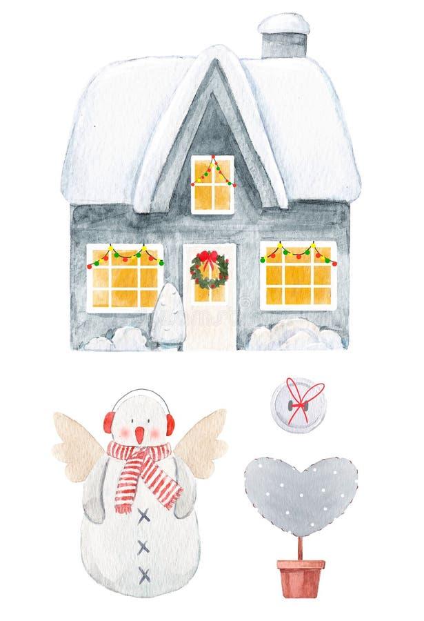 Sistema agradable de la Navidad de la acuarela ilustración del vector