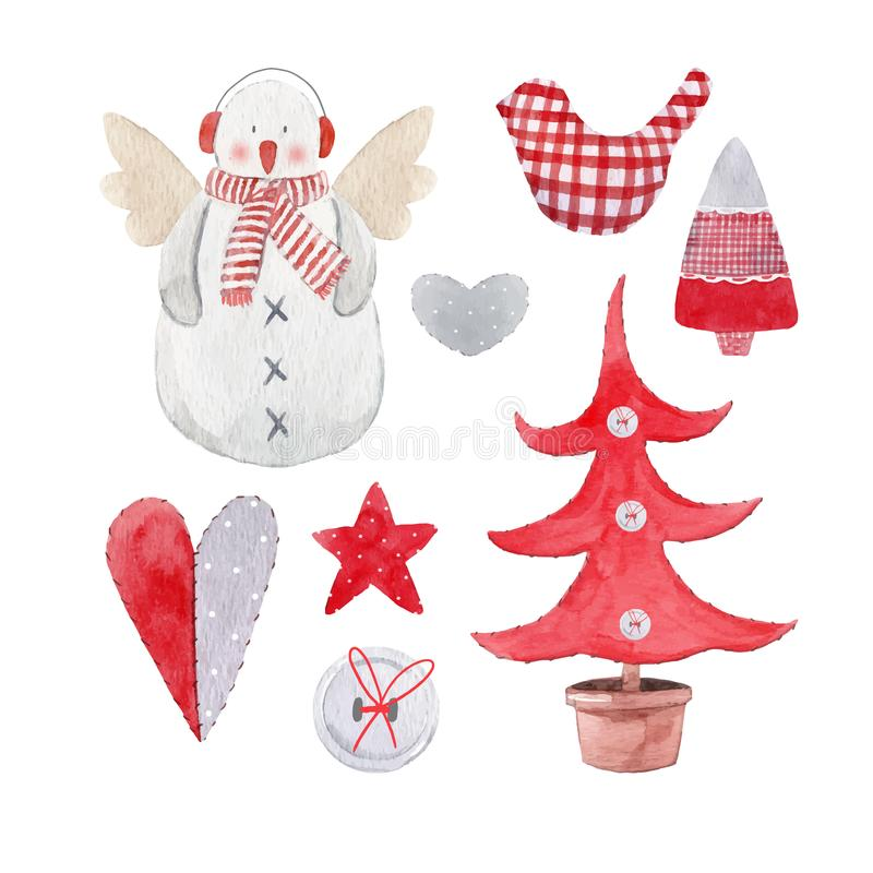 Sistema agradable del vector de la Navidad de la acuarela libre illustration