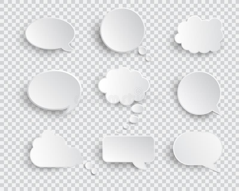 Sistema aislado burbujas en blanco blancas del vector del discurso ilustración del vector