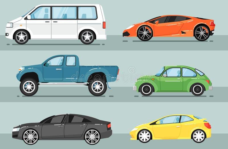 Sistema aislado coche moderno del vector de la ciudad ilustración del vector