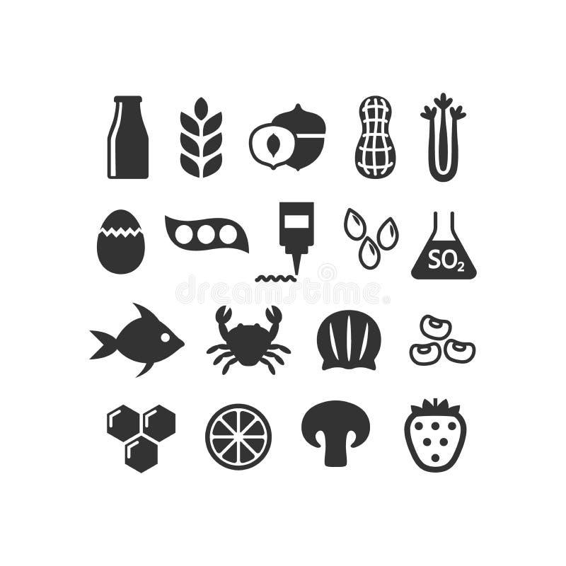 Sistema aislado negro del icono de los alergénicos de la comida stock de ilustración