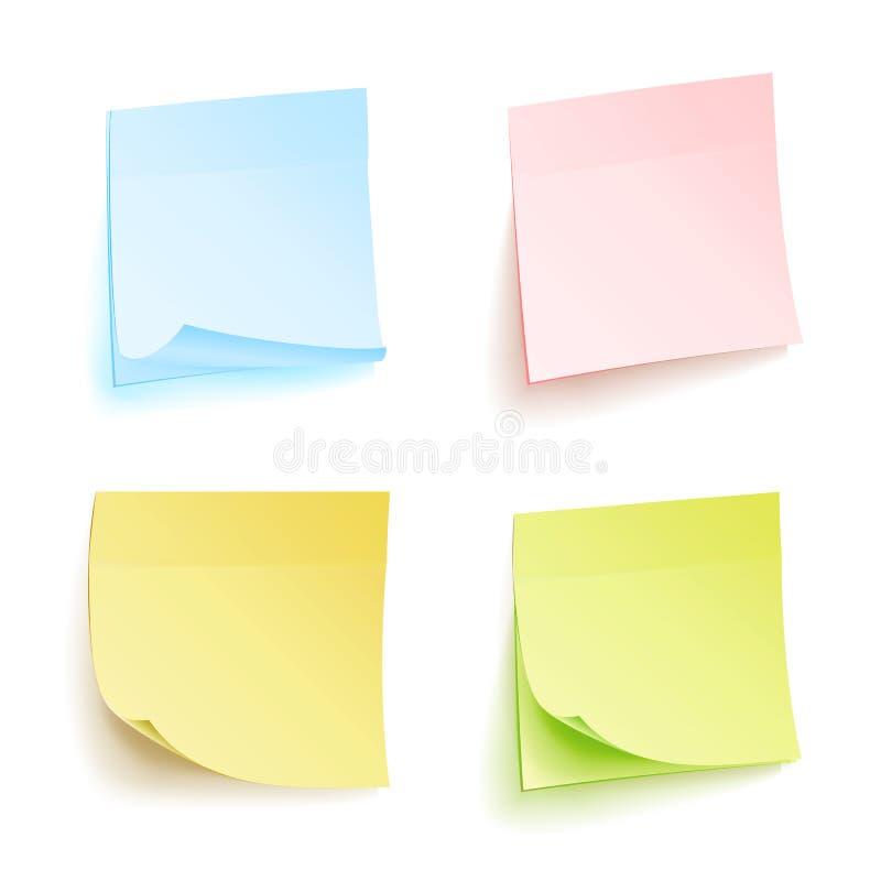 Sistema aislado notas del vector del papeleo Papel de nota pegajoso para Noticeboard con el ejemplo encrespado de las esquinas In stock de ilustración