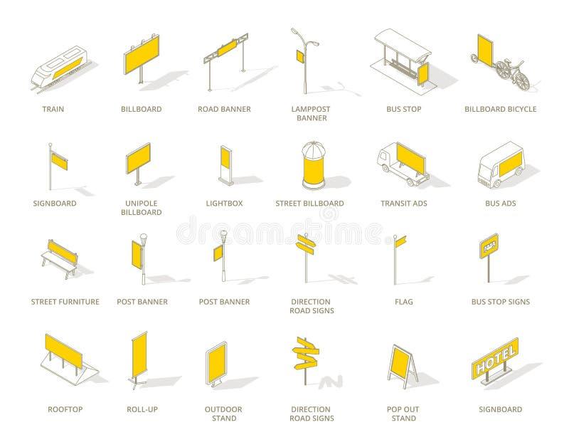 Sistema al aire libre de los iconos de los medios de publicidad del hacia fuera-de-hogar Línea de contorno isométrica y color ama ilustración del vector