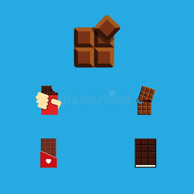 Sistema amargo del icono plano de postre, de caja formada, de cacao y de otros objetos del vector También incluye el postre, form stock de ilustración