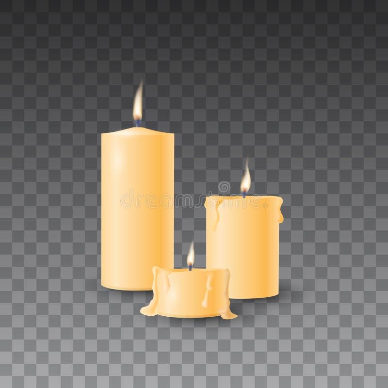 Sistema amarillo hermoso del vector de velas ardientes realistas en fondo transparente stock de ilustración