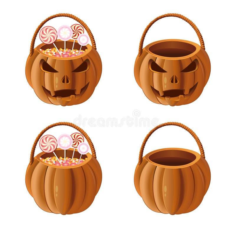 Sistema anaranjado de la cesta de la calabaza de Halloween Engrana el icono libre illustration