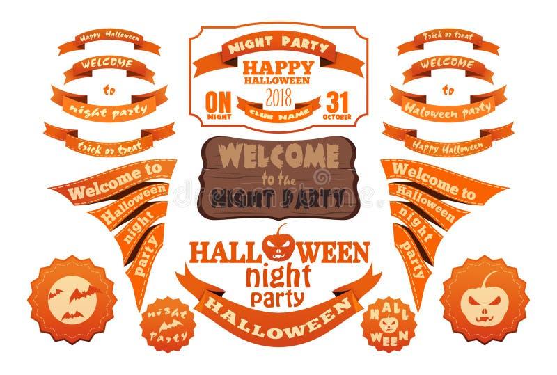Sistema anaranjado de las etiquetas y de las cintas del vector de Halloween ilustración del vector