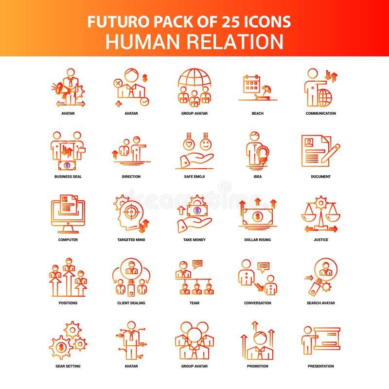 Sistema anaranjado del icono de la relación humana de Futuro 25 ilustración del vector