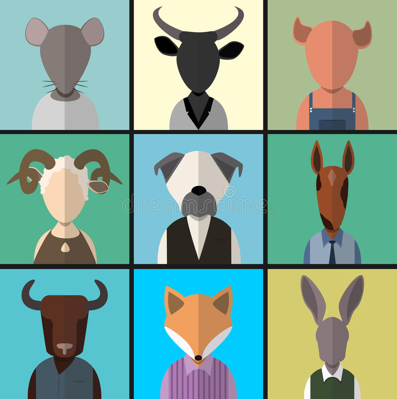 Sistema animal del icono del avatar stock de ilustración