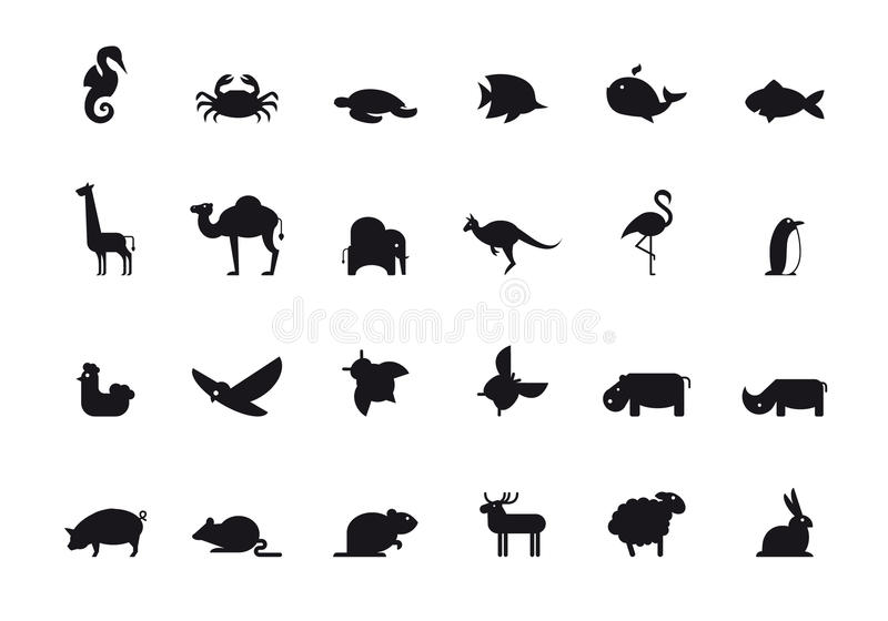 Sistema animal del icono. Ejemplo del vector. ilustración del vector