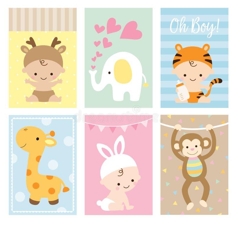 Sistema animal del tema de las tarjetas de la fiesta de bienvenida al bebé libre illustration