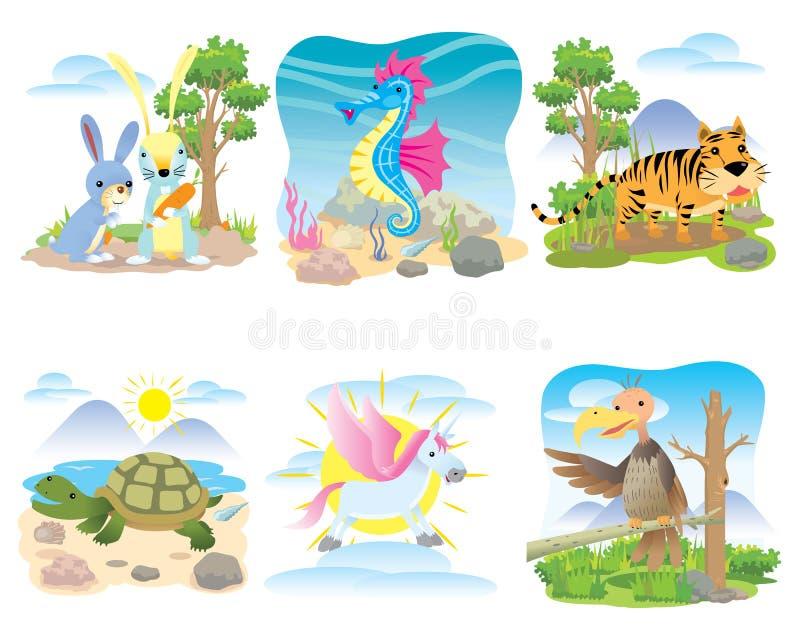 Sistema animal del vector, conejo, seahorse, tigre, tortuga, caballo, unicornio, ilustración del vector