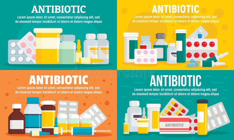 Sistema antibiótico de la bandera, estilo plano stock de ilustración