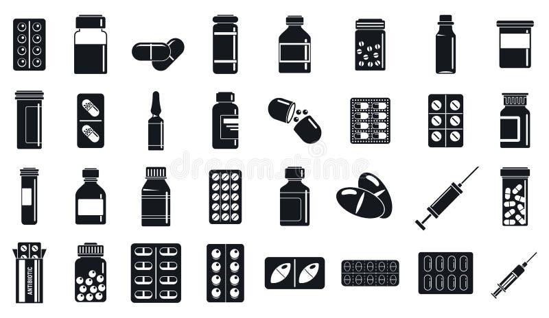 Sistema antibiótico de los iconos de las píldoras, estilo simple ilustración del vector