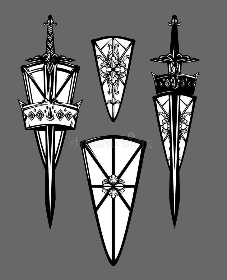 Sistema antiguo del diseño del vector del escudo, de la espada y de la corona stock de ilustración