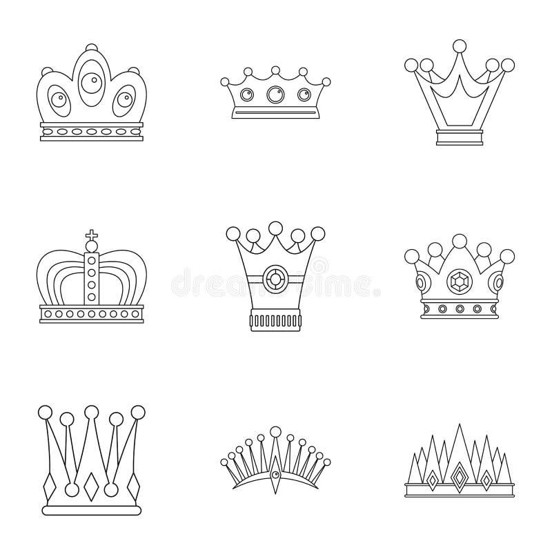 Sistema antiguo del icono de la corona, estilo del esquema stock de ilustración