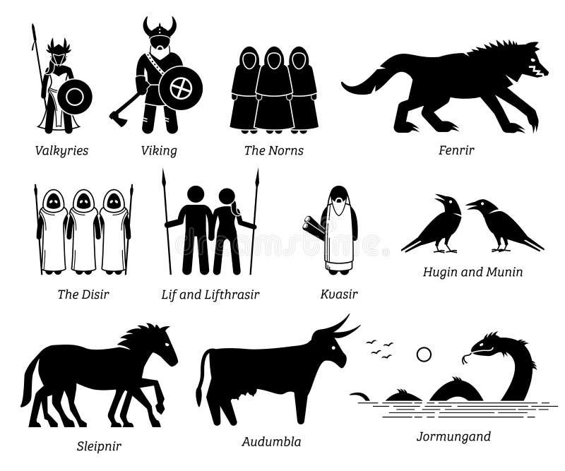 Sistema antiguo del icono de los caracteres de la gente, de los monstruos y de las criaturas de la mitología nórdica libre illustration
