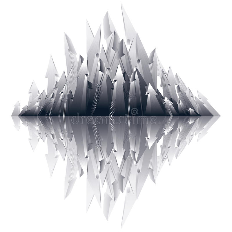 Sistema apuntado rayado tono medio reflexivo de flechas stock de ilustración