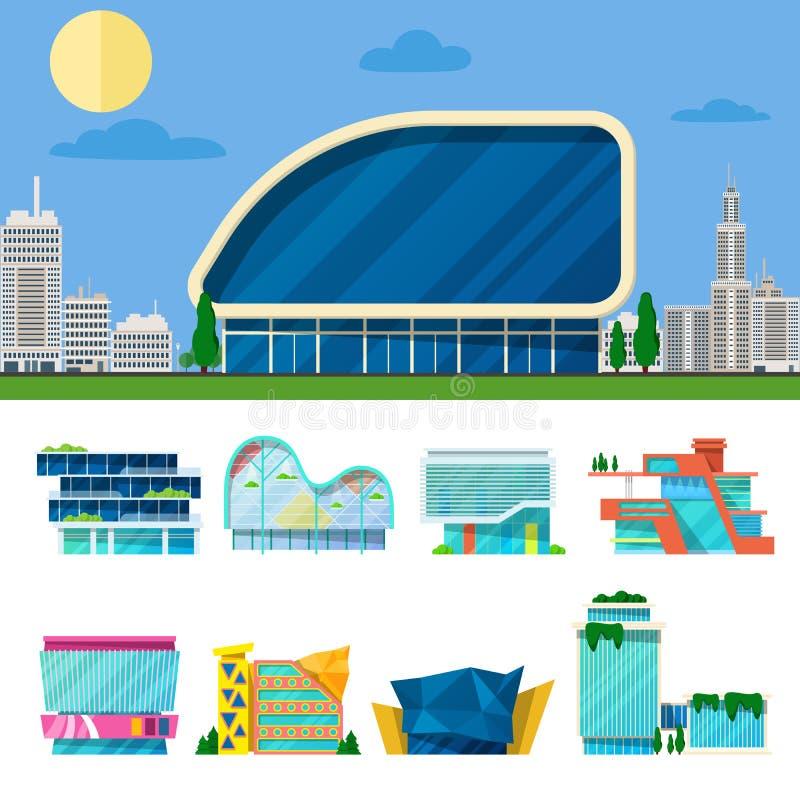 Sistema arquitectónico de compras de los edificios modernos de la alameda libre illustration