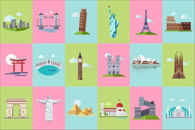 Sistema arquitectónico famoso de los iconos de las señales, señales históricas del viaje popular y edificios de los países difere libre illustration