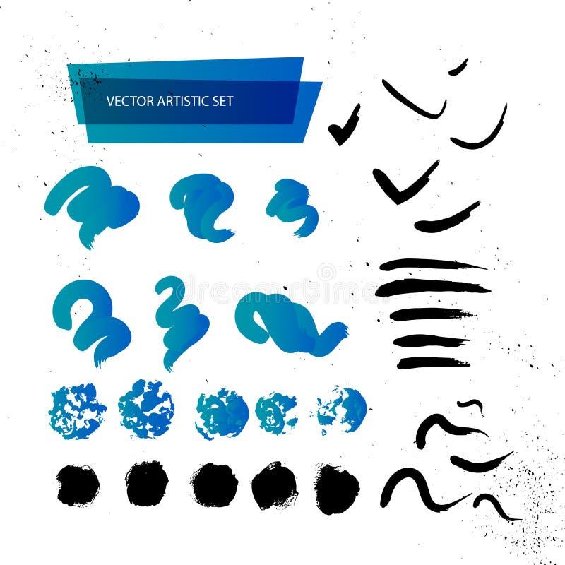 Sistema artístico del contexto del vector aislado en el fondo blanco Colección colorida del movimiento del diseño del arte imagenes de archivo