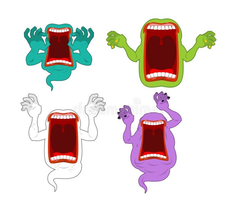 Sistema asustadizo del fantasma Fantasma misterioso Alcohol hambriento enojado Horrib libre illustration