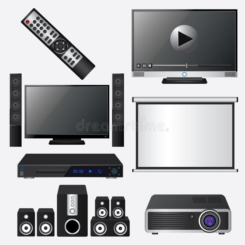 Sistema audio y video del icono ilustración del vector