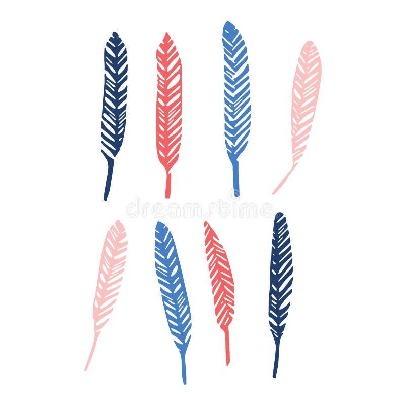 Sistema aviar lindo del adorno del ejemplo del vector de la historieta de la silueta de la pluma Clipart aviar exhausto de los el libre illustration