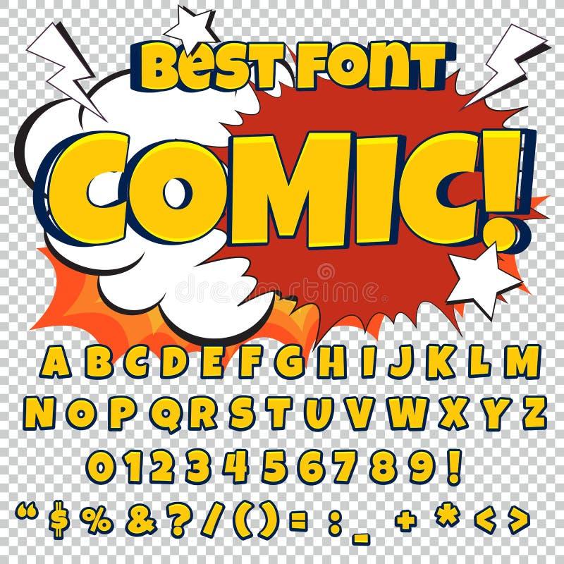 Sistema azul cómico del alfabeto Letras, números y figuras para los ejemplos de los niños, sitios web, tebeos libre illustration