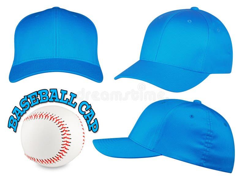 Sistema azul claro de la gorra de béisbol imagen de archivo