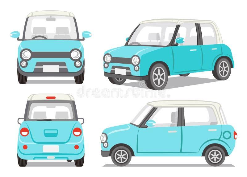 Sistema azul claro del ángulo del coche cuatro ilustración del vector
