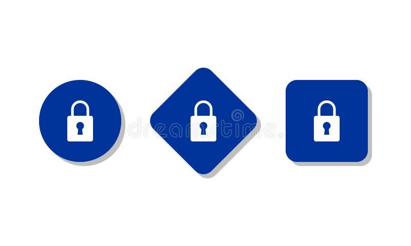 Sistema azul de los iconos del candado ilustración del vector