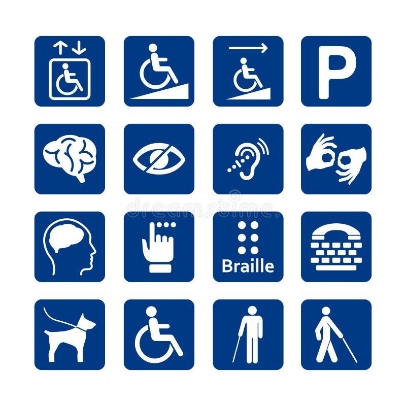 Sistema azul del cuadrado de iconos de la incapacidad Sistema discapacitado del icono stock de ilustración