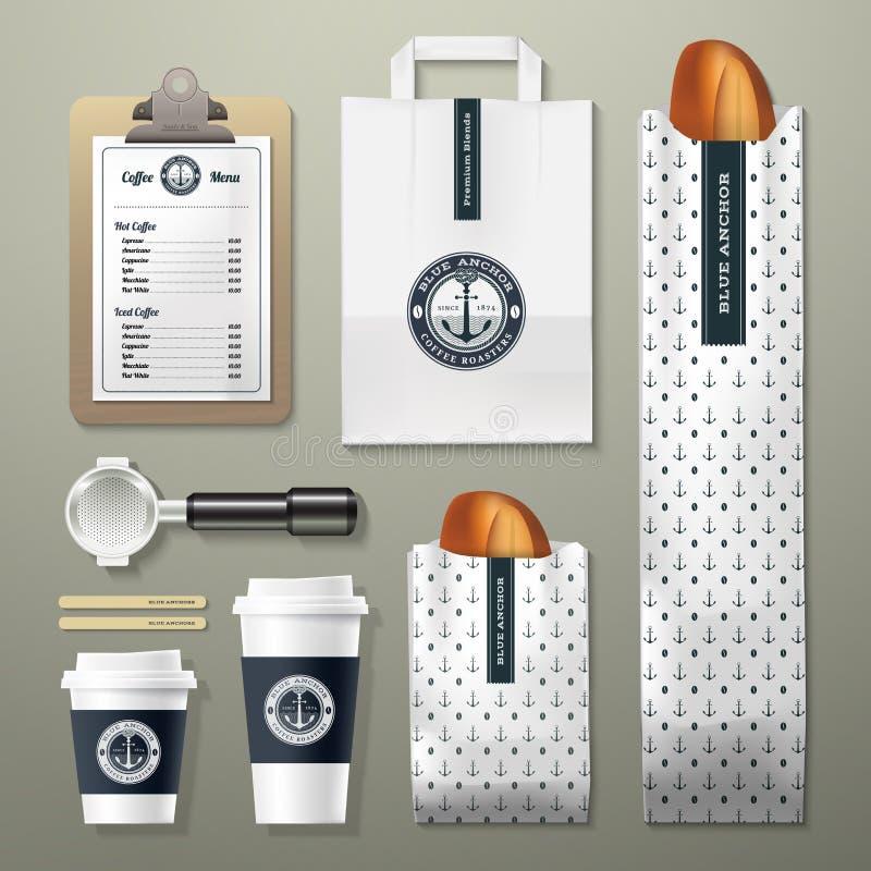 Sistema azul del diseño de la plantilla de la identidad corporativa de la cafetería del ancla libre illustration
