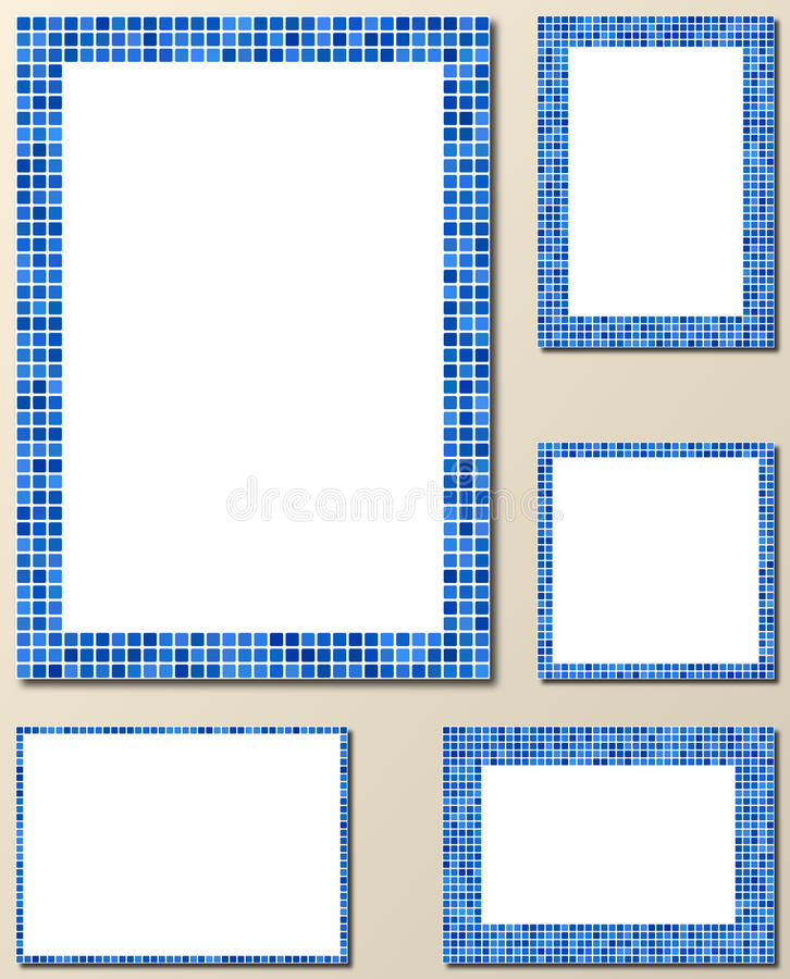 Sistema Azul Del Marco De Página Del Mosaico Del Pixel Ilustración ...
