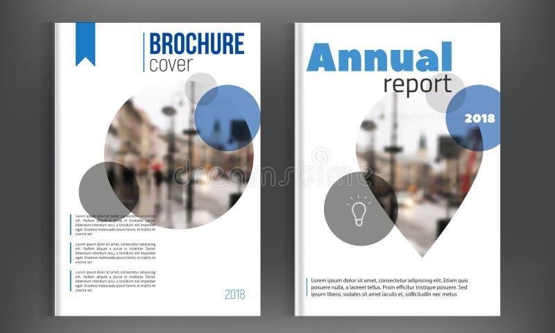 Sistema azul del prospecto del informe anual del círculo con la ciudad blured Plantilla limpia del folleto en diseño del tamaño A ilustración del vector