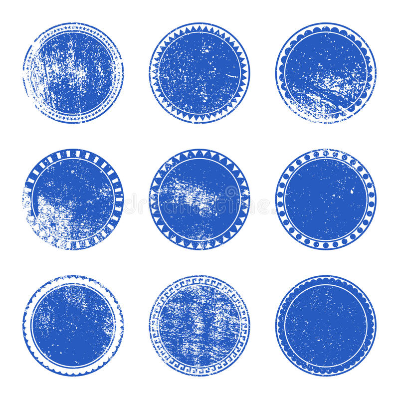 Sistema azul del sello del Grunge ilustración del vector