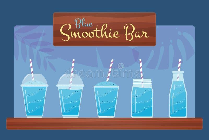Sistema azul del vector del smoothie o del cóctel de la fruta fresca stock de ilustración