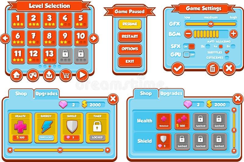 Sistema azul y rojo casual del juego UI stock de ilustración