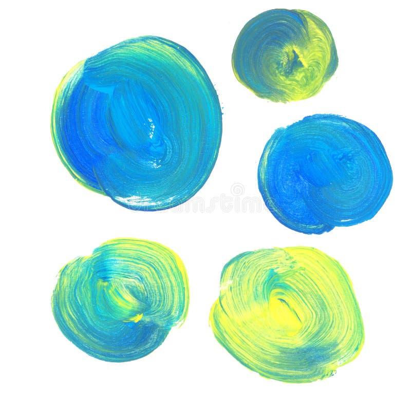 Sistema azul y verde del fondo de la pintura ilustración del vector
