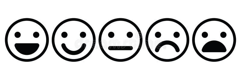 Sistema básico de los emoticons Expresión facial cinco de la reacción - del positivo a la negativa Iconos negros simples del vect ilustración del vector