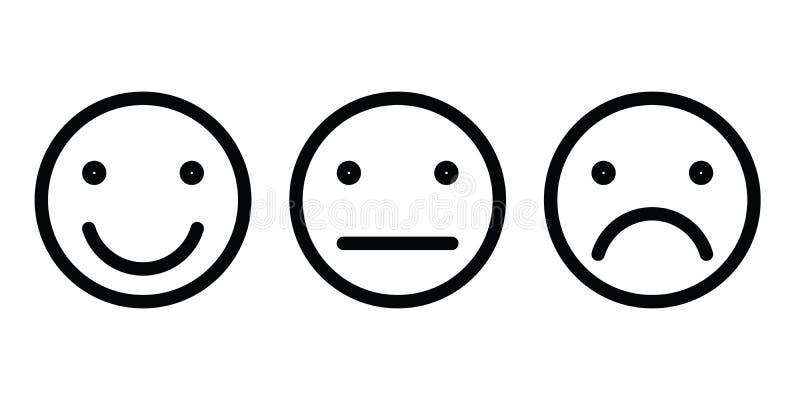 Sistema básico de los emoticons Expresión facial tres de la reacción - positiva, neutral y negativa Vector negro simple del esque ilustración del vector