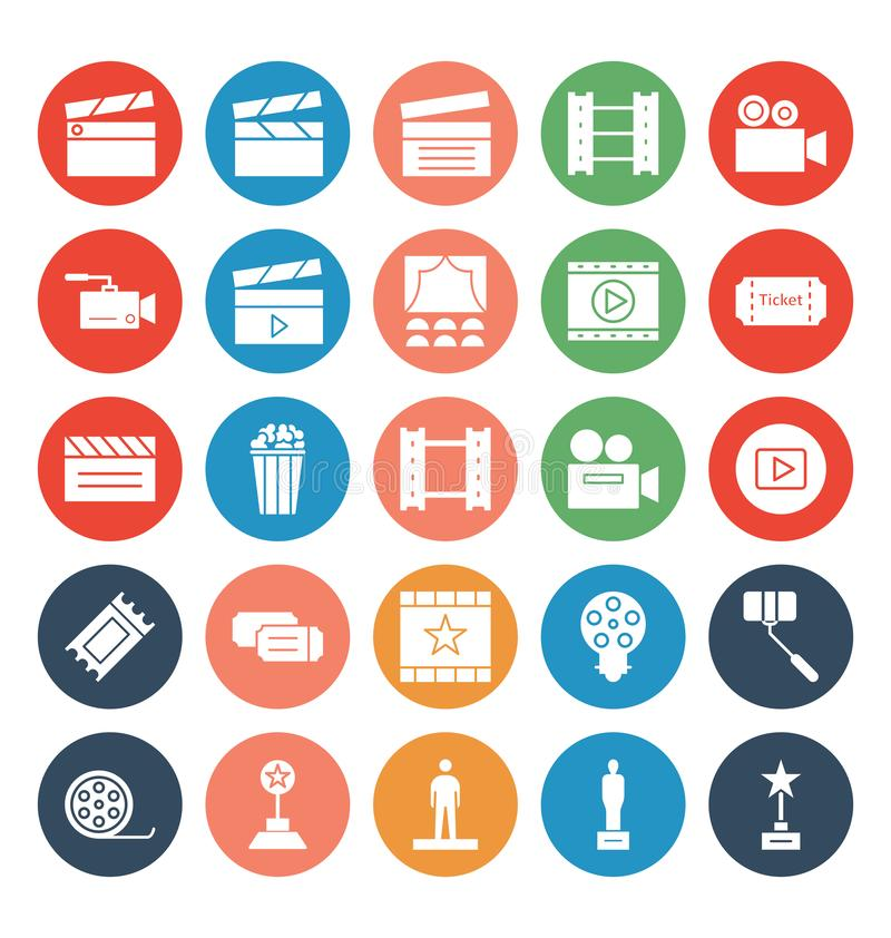 Sistema básico de los iconos del vector del cine del RGB que puede ser modificado o corregir fácilmente libre illustration