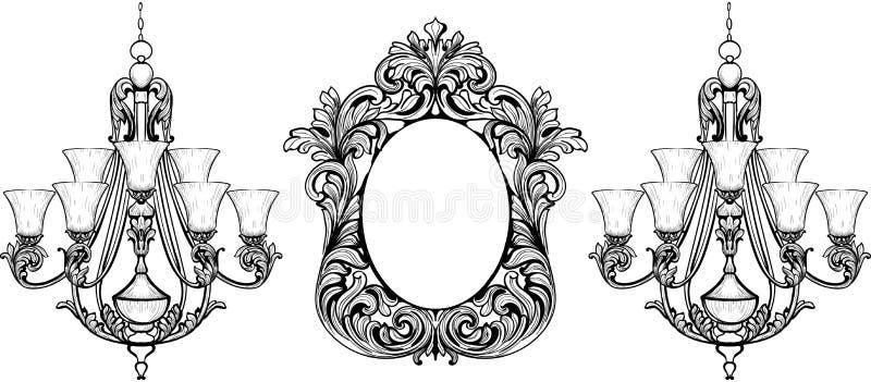 Sistema barroco fabuloso del marco del espejo y de la lámpara Ornamentos tallados ricos de lujo franceses del vector Muebles rico ilustración del vector