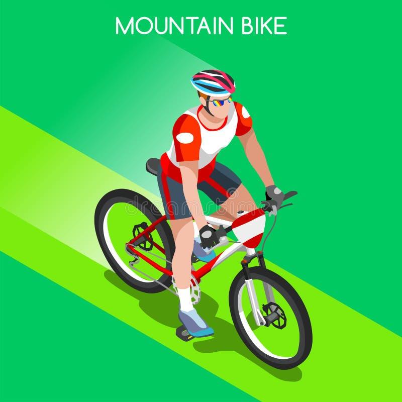 Sistema Biking de Summer Games Icon del atleta del ciclista del ciclista de la montaña Concepto de ciclo Biking de la montaña bic stock de ilustración